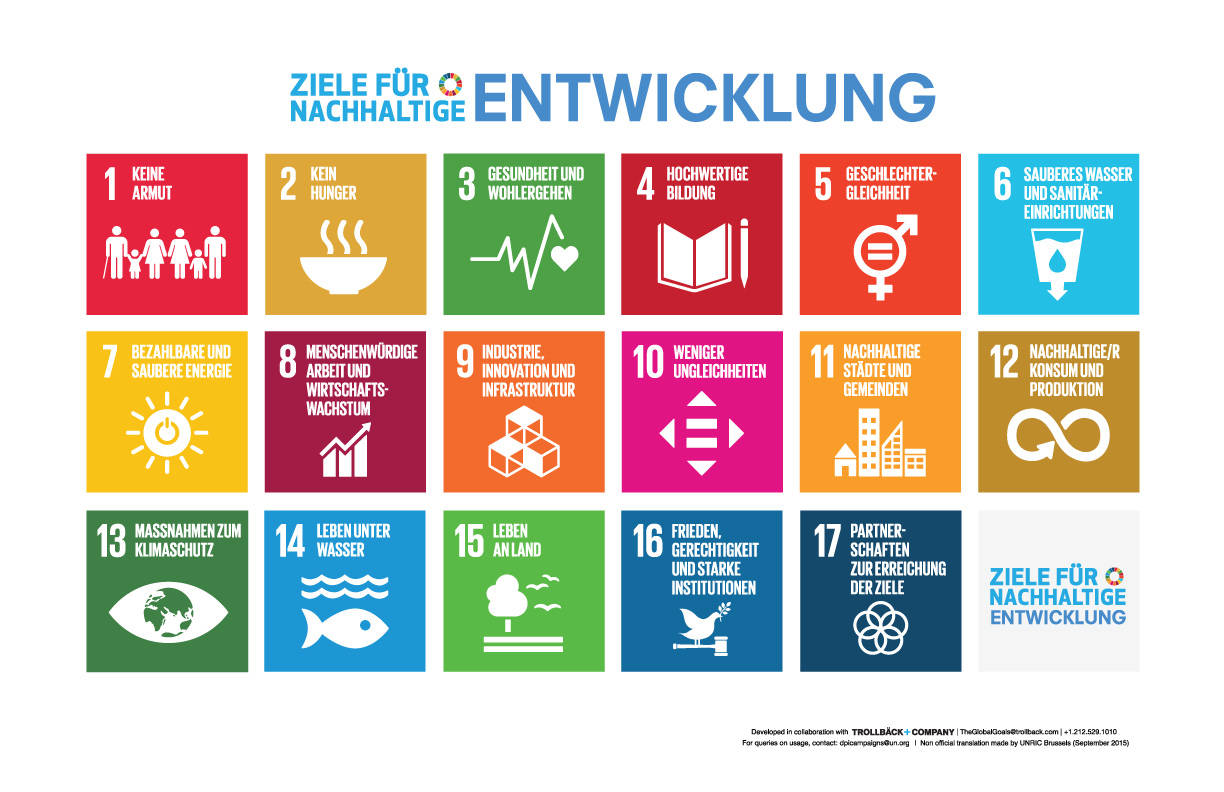 Die 17 UN-Nachhaltigkeitsziele (SDG) auf einen Blick