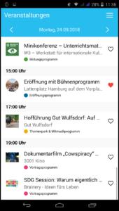 Screenshot der Klimawochen-App